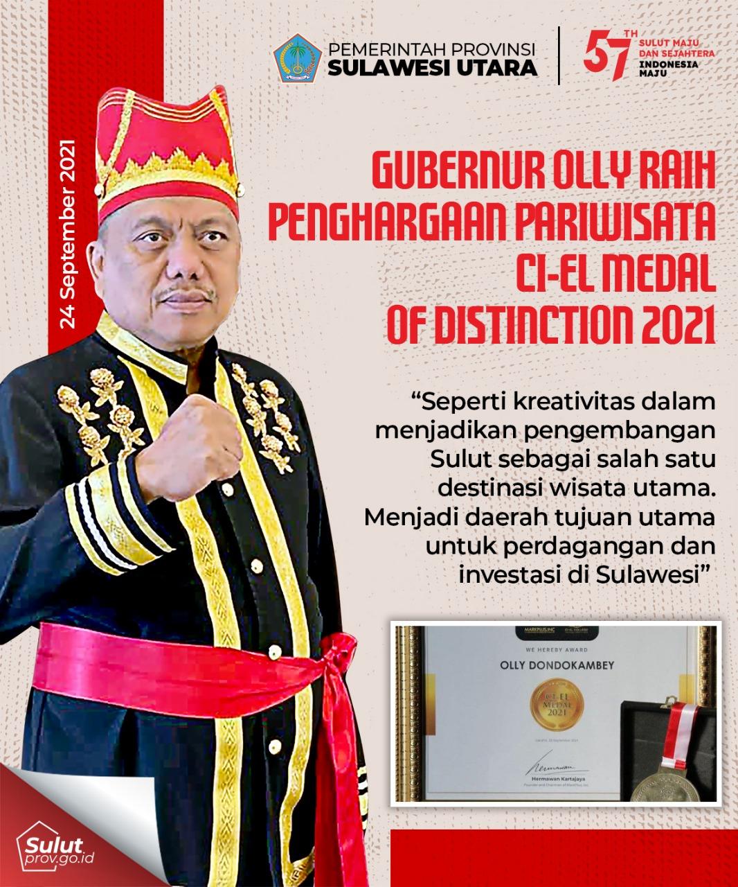 GUBERNUR OLLY RAIH PENGHARGAAN PARIWISATA CI-EL MEDAL OF DISTINCTION 2021