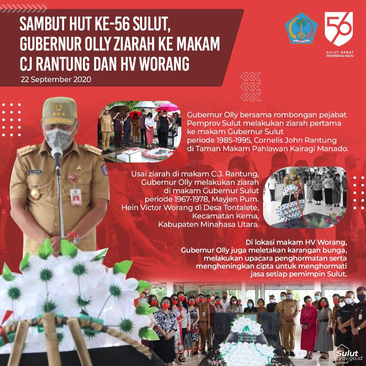 Sambut HUT Ke-56 SULUT, Gubernur Olly Ziarah Ke Makam CJ Rantung & HV Worang