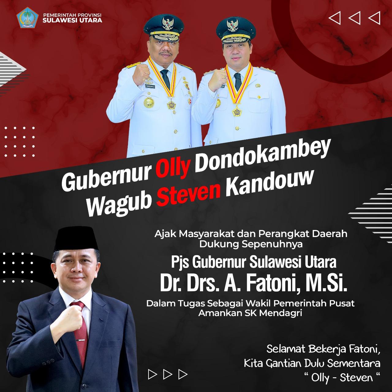 Gubernur Olly Dondokambey & Wagub Steven Kandouw Ajak Masyarakat & Perangkat Daerah Dukung PJG Gubernur Sulawesi Utara